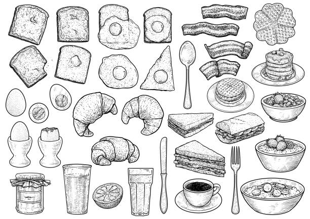 breakfast collection illustration, drawing, engraving, ink, line art, vector - breakfast stock illustrations