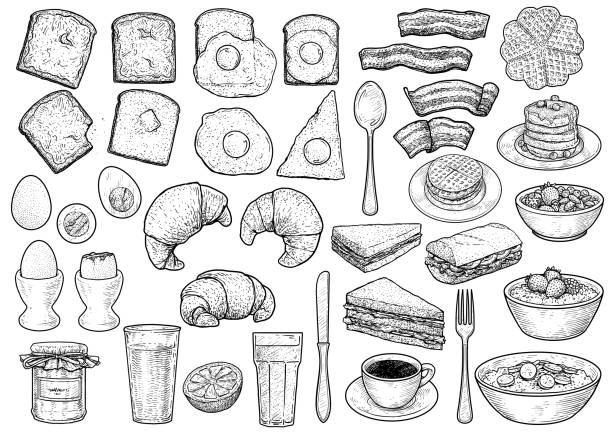 stockillustraties, clipart, cartoons en iconen met ontbijt collectie illustratie, tekening, gravure, inkt, zeer fijne tekeningen, vector - breakfast
