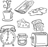 Breakfast collection in sketch style, Black and White