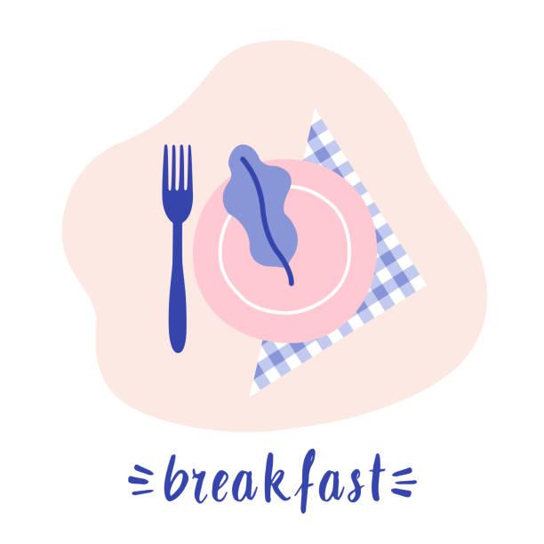 stockillustraties, clipart, cartoons en iconen met ontbijt concept. plaat op het servet met vork. groen op de plaat. vlakke lay voedsel. - servet