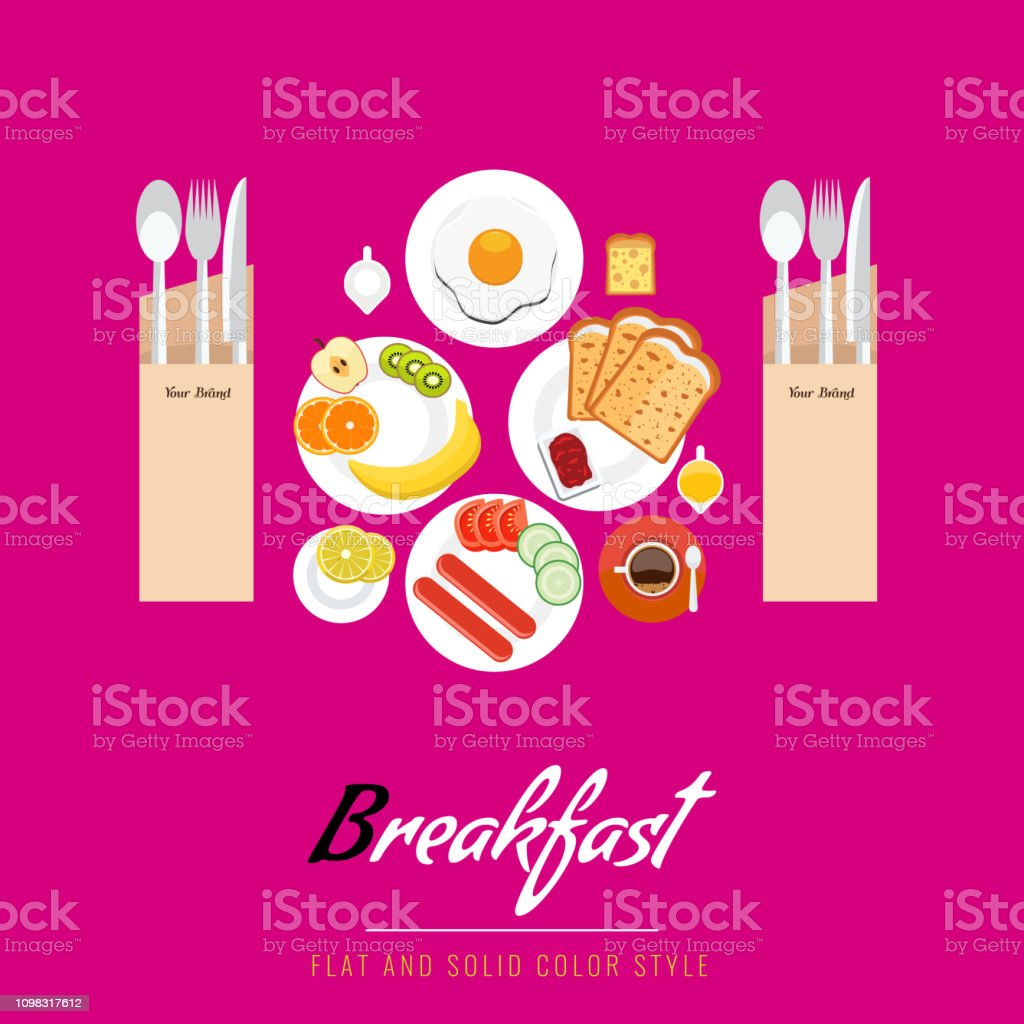 Breakfast concept with food and drinks top view on table. Breakfast...