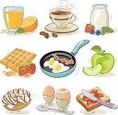 Set of hand drawn vector breakfast design elements.