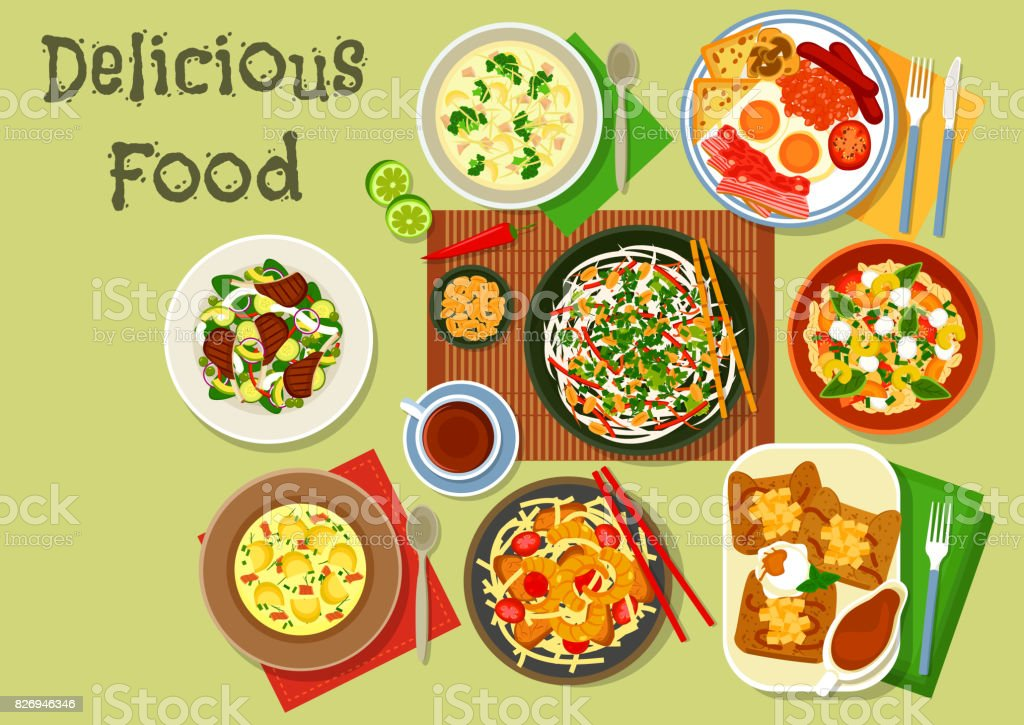 Ícone de pratos de pequeno-almoço para o projeto de alimentação saudável - ilustração de arte em vetor