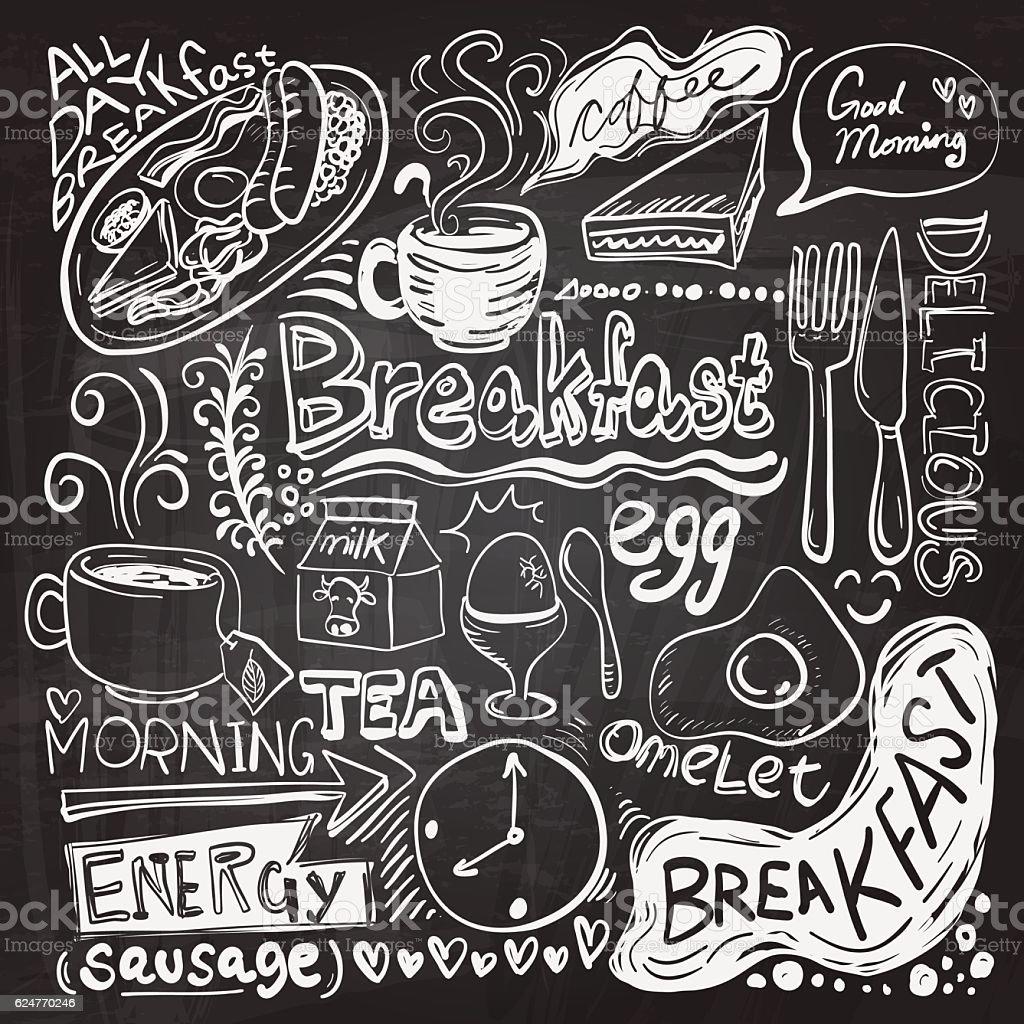 Breakfast doodle drawing vektör sanat illüstrasyonu