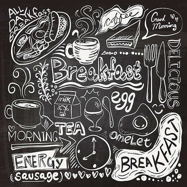 Breakfast doodle drawing vector art illustration