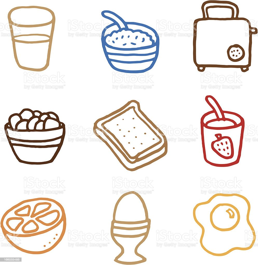 Breakfast doodle icon set royalty-free stock vector art
