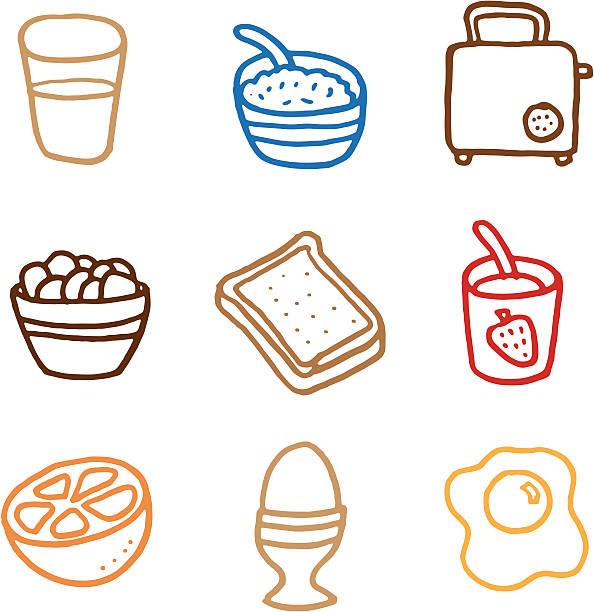Frühstück doodle icon-set – Vektorgrafik