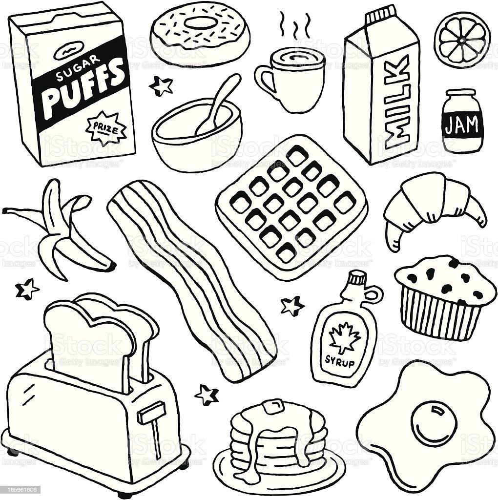 Breakfast Doodles royalty-free breakfast doodles stock illustration - download image now