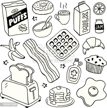 A doodle page of breakfast foods.