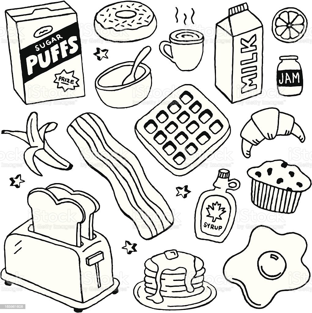 Breakfast Doodles vector art illustration
