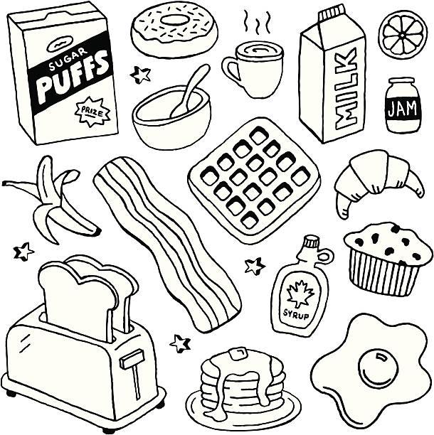 ilustraciones, imágenes clip art, dibujos animados e iconos de stock de desayuno y garabatos - desayuno