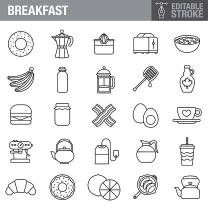 Breakfast Editable Stroke Icon Set