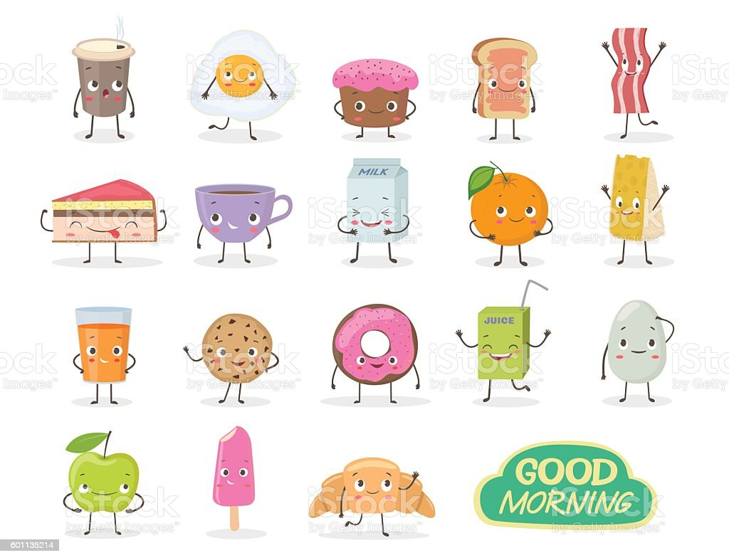Breakfast. Emoticon food funny elements vector character - ilustración de arte vectorial