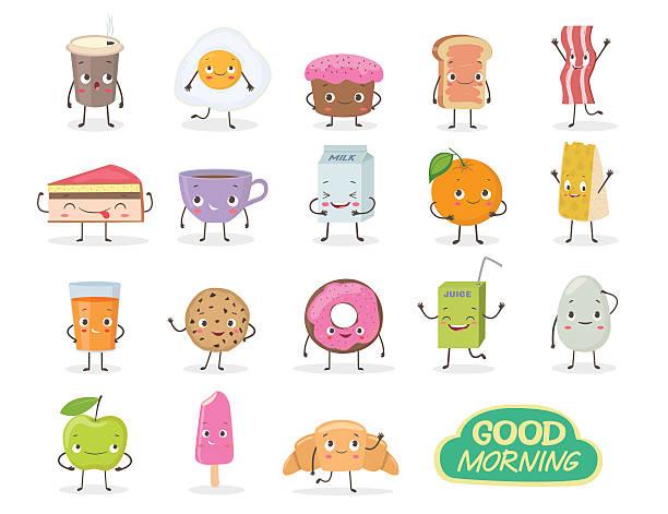 breakfast. emoticon food funny elements vector character - tassenkuchen stock-grafiken, -clipart, -cartoons und -symbole