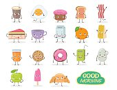 Breakfast. Emoticon food funny elements vector character