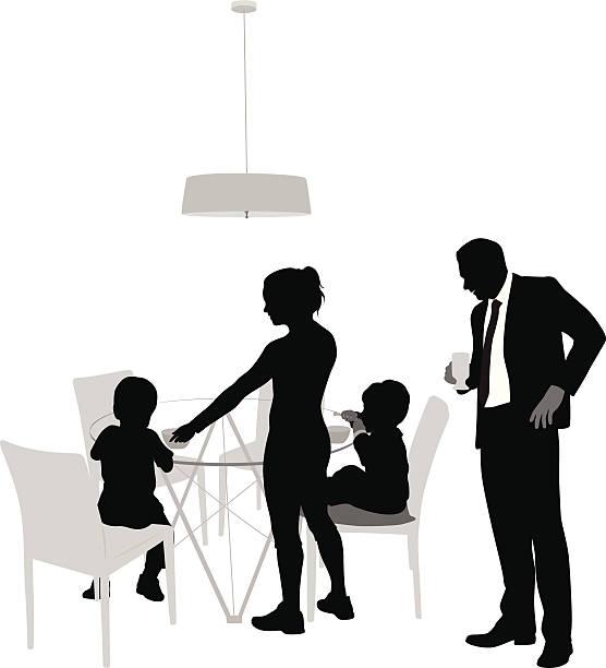 Breakfast Family Vector Silhouette vector art illustration