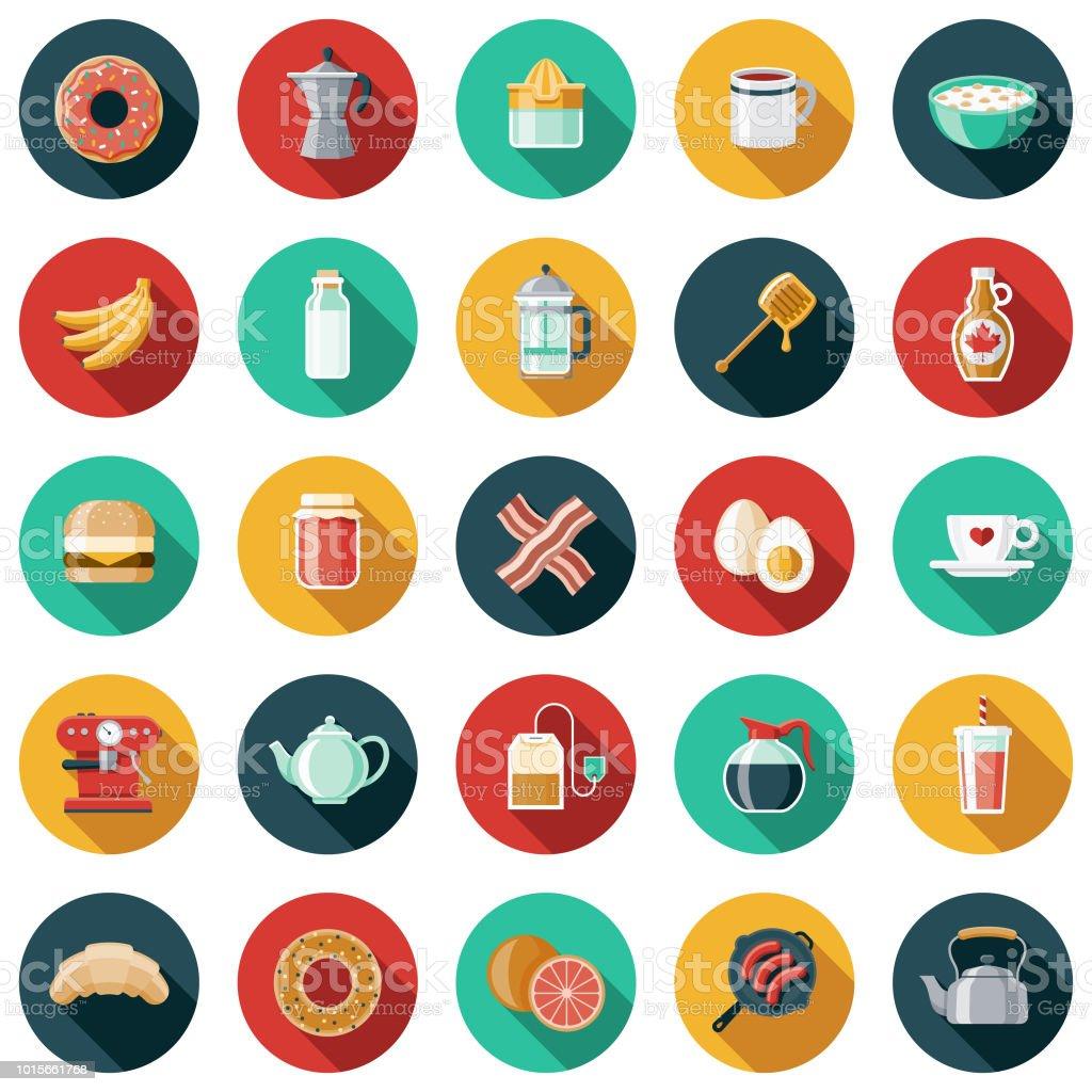 Breakfast Flat Design Icon Set vector art illustration