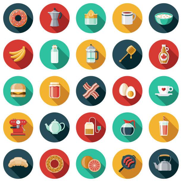 illustrations, cliparts, dessins animés et icônes de chambres d'hôtes design plat icon set - infusion pamplemousse