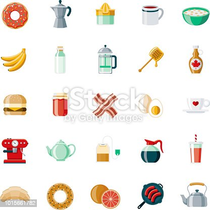 A set of 25 breakfast food and beverage themed icons. File is built in the CMYK color space for optimal printing, and can easily be converted to RGB. Color swatches are global for quick and easy color changes throughout the entire set of icons.