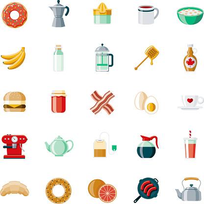 Breakfast Flat Design Icon Set