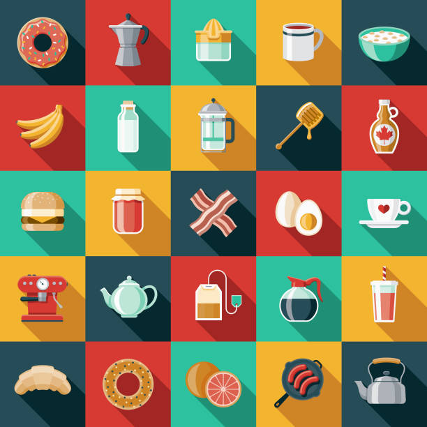 Breakfast Flat Design Icon Set A set of 25 breakfast food and beverage themed icons. File is built in the CMYK color space for optimal printing, and can easily be converted to RGB. Color swatches are global for quick and easy color changes throughout the entire set of icons. maple syrup stock illustrations