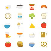 Breakfast Flat Icons color