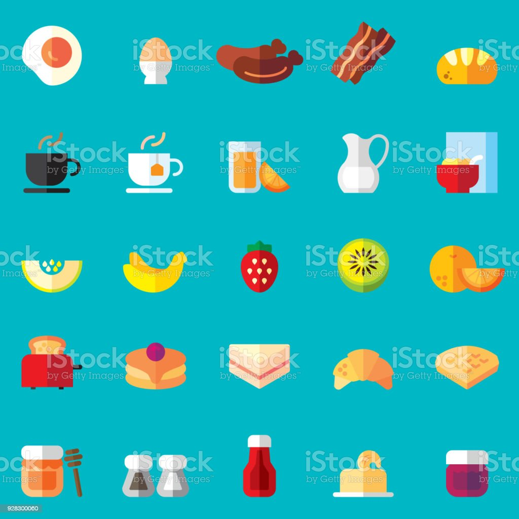 Breakfast Flat Icons vector art illustration