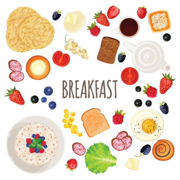 Breakfast food and drink collection isolated illustration on white Breakfast food and drink collection. Isolated vector illustration of hot coffee, fresh fruits and vegetables along with tasty pastry on white pastry dough stock illustrations