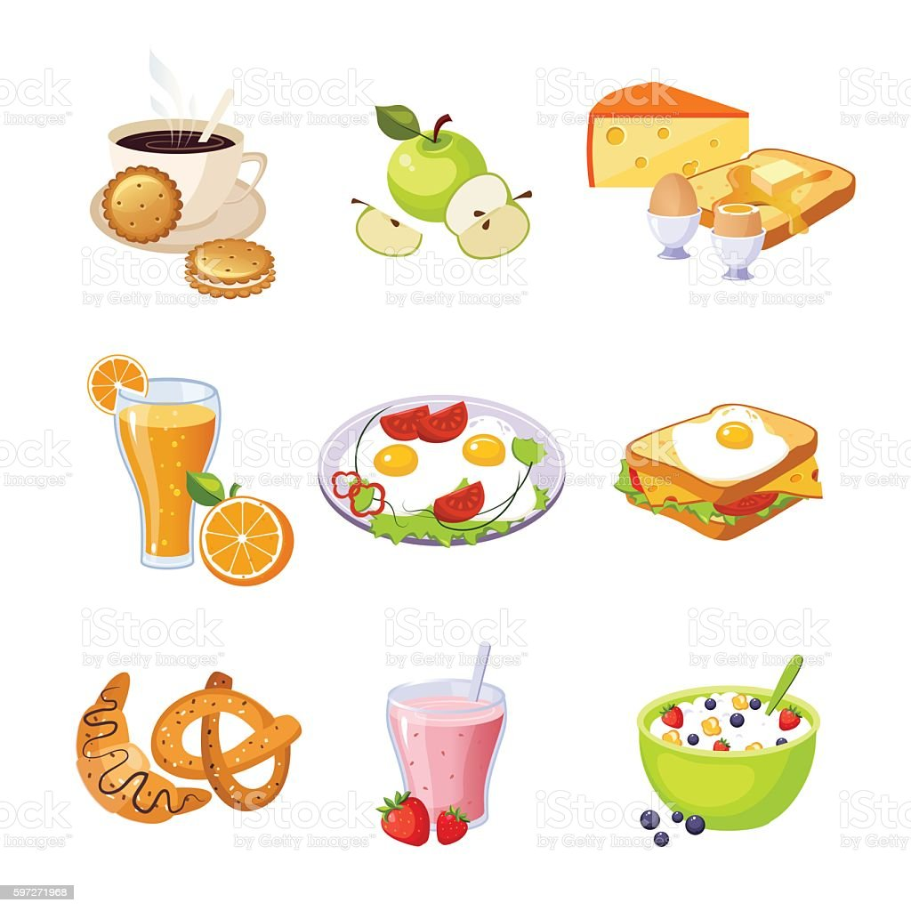 Breakfast Food Assortment Set Of Isolated Icons royalty-free breakfast food assortment set of isolated icons stock vector art & more images of breakfast