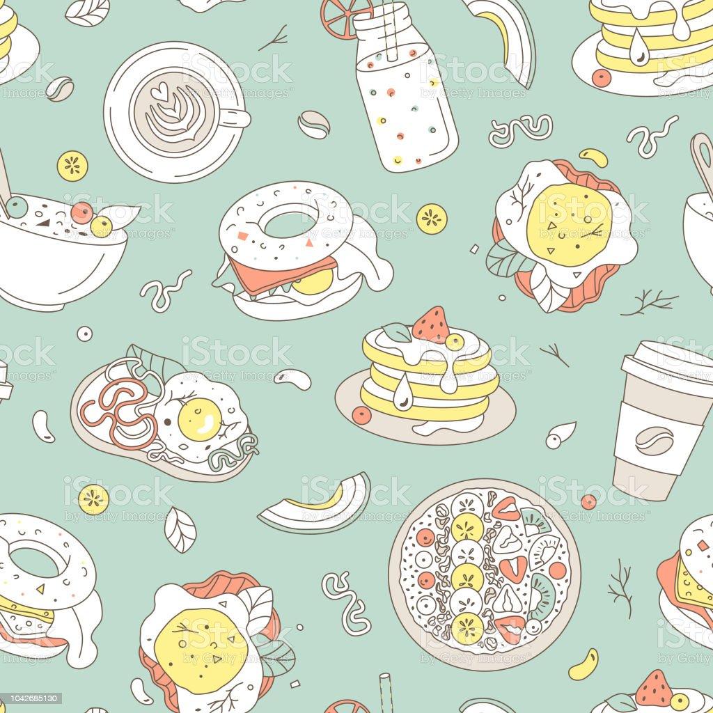 Breakfast food hand drawn seamless pattern. Hand drawn illustration vector art illustration