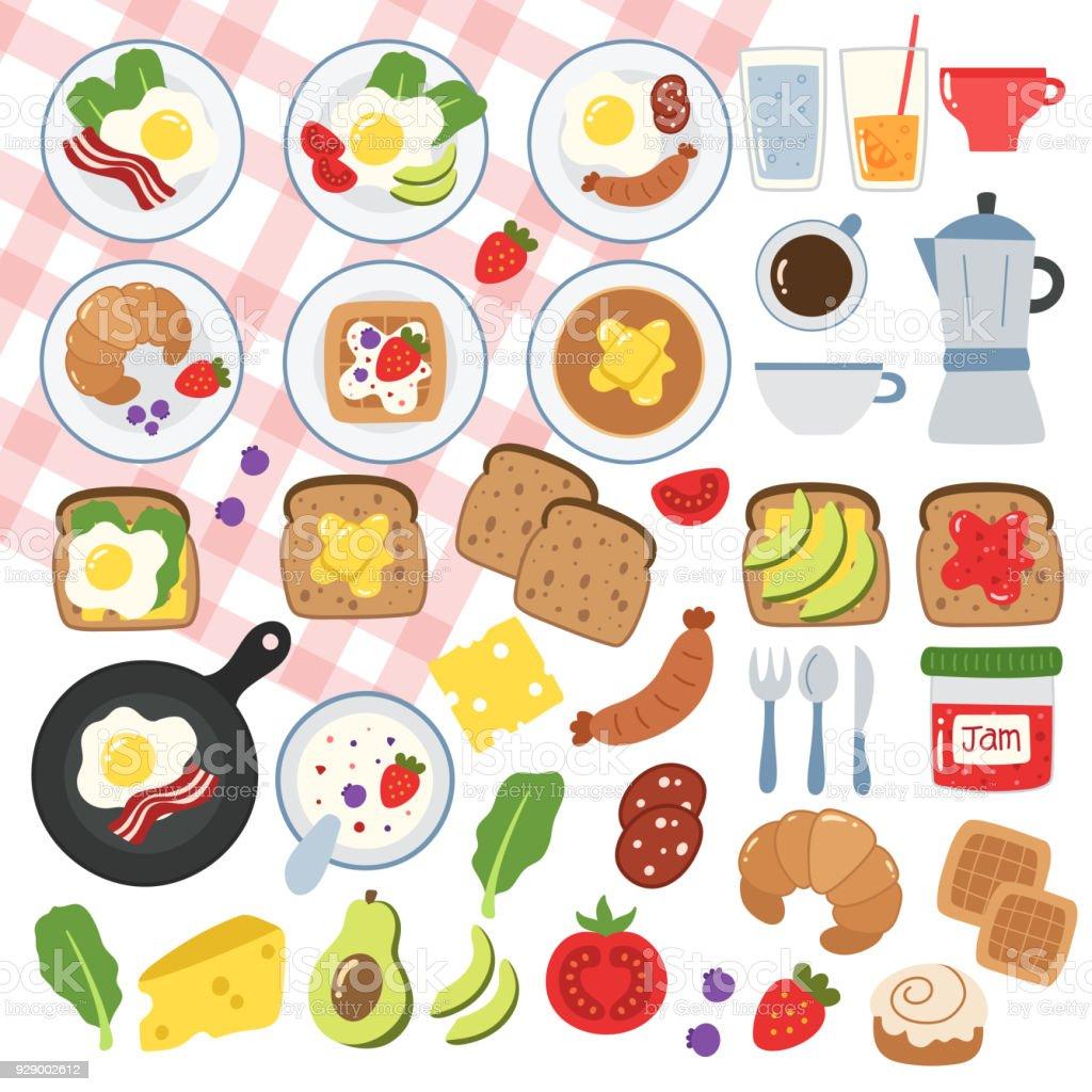 Breakfast food illustrations. vector art illustration