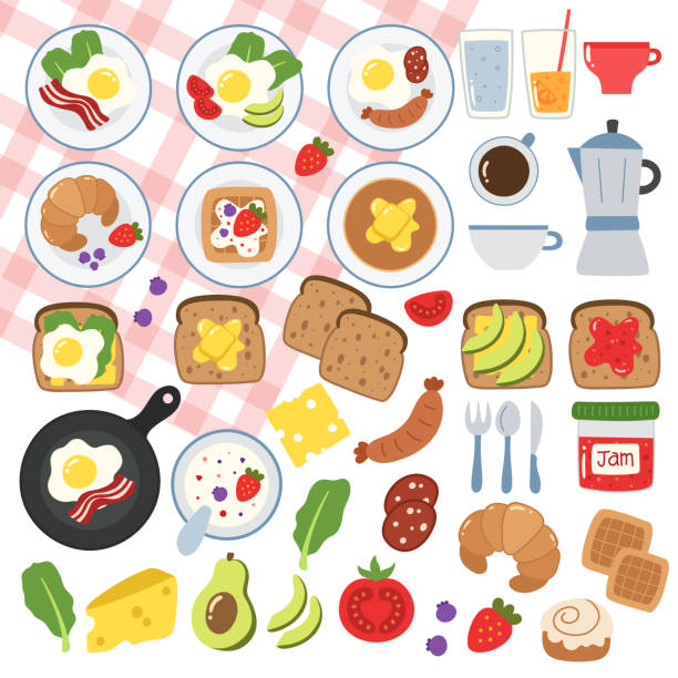 Breakfast food illustrations. Big set of vector icons. Cute flat design. Eggs, bacon, sausage, toasts, cheese, jam, sandwiches, coffee, yogurt, croissant, waffles brunch stock illustrations