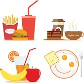 Breakfast food. Lunch coffee, orange and morning nutrition. Flat design, vector illustration, vector.