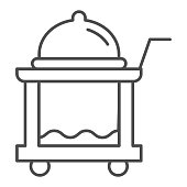 Breakfast food tray thin line icon. Covered cart with table and platter symbol, outline style pictogram on white background. Hotel business sign for mobile concept or web design. Vector graphics