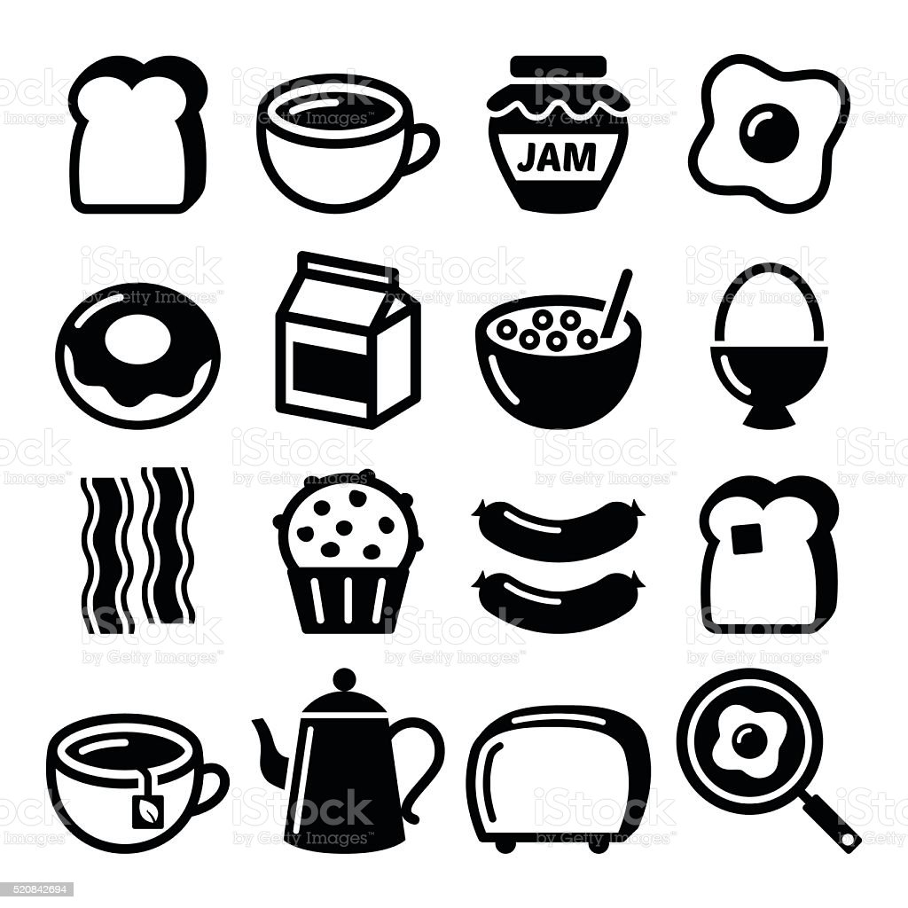 Breakfast food vector icons set - toast, eggs, bacon, coffee vector art illustration