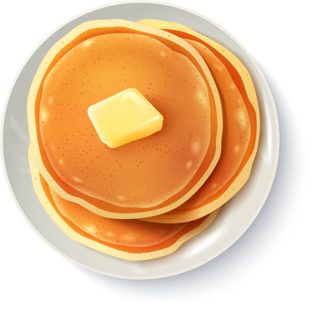 breakfast food Breakfast food menu item tasty fluffy homestyle pancakes with butter plate realistic top view image vector illustration Anglo American stock illustrations