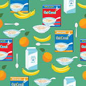 Breakfast Foods And Cereal Seamless Pattern