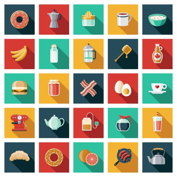 illustrations, cliparts, dessins animés et icônes de ensemble d'icônes pour les aliments et boissons pour le petit déjeuner - infusion pamplemousse