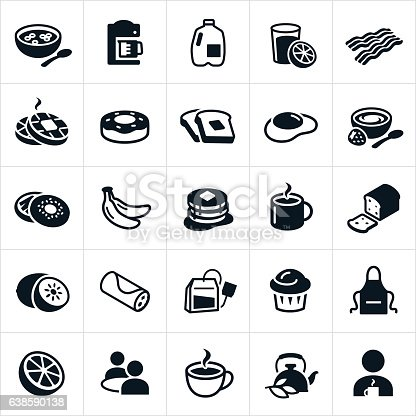 An icon set of different breakfast foods. The icons include cereal, coffee, milk, orange juice, bacon, waffles, donut, toast, egg, yogurt, bagel, bananas, pancakes, kiwi, breakfast burrito, tea, muffin, orange, grapefruit and people enjoying the food.