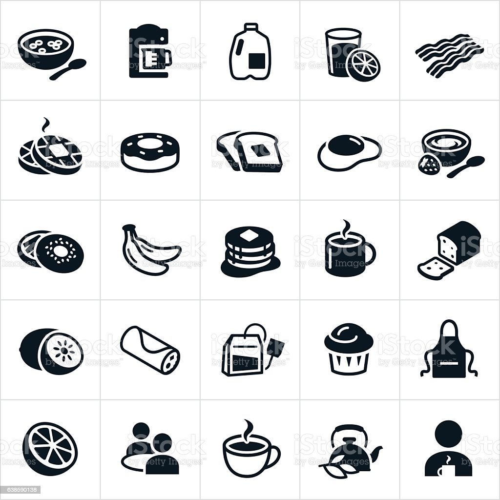Breakfast Foods Icons vector art illustration