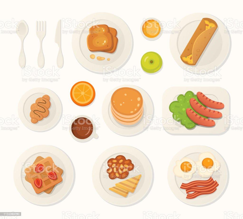 Breakfast fresh food and drinks top view. breakfast meal vector set