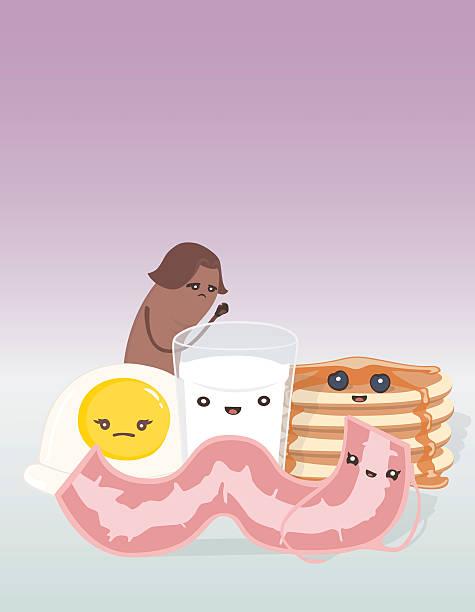 Breakfast Friends, Sausage, Egg, Milk, Pancakes and Bacon vector art illustration