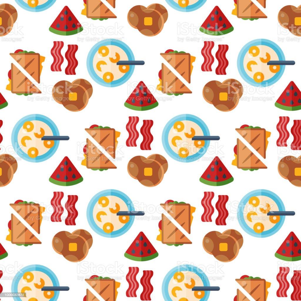 Frühstück Gesunde Ernährung Essen Symbole Musterdesign Hintergrund ...