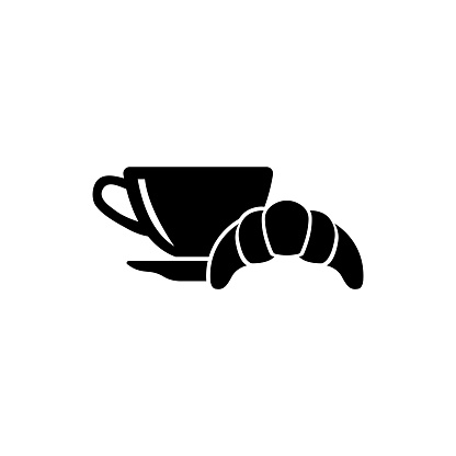 Breakfast Hot Coffee and Croissant Flat Vector Icon