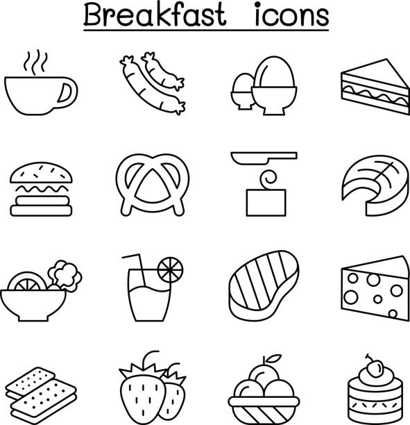 Breakfast icon set in thin line style Breakfast icon set in thin line style brunch stock illustrations