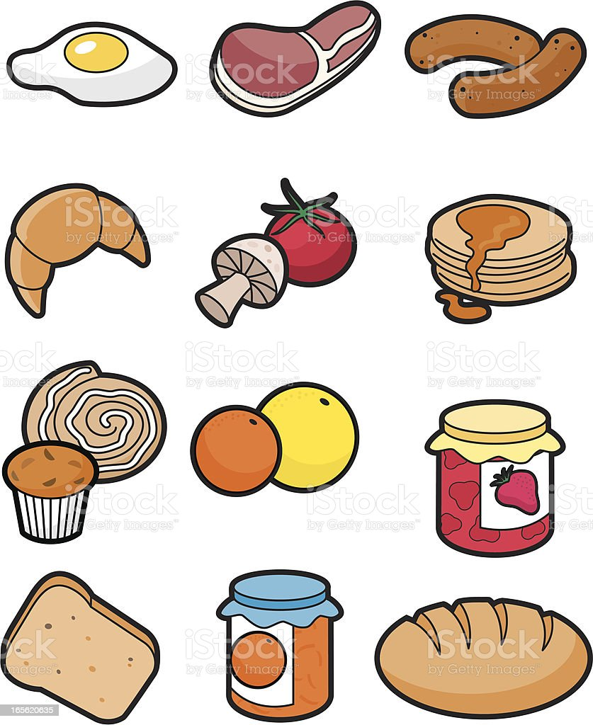 Breakfast icon set vector art illustration
