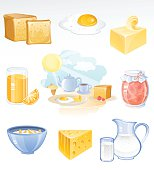 Vector icons of a healthy breakfast including toast, fried egg, butter, orange juice, jam, cereals, cheese and milk. AI 10 EPS file including some transparency. AI CS6 version is also available.
