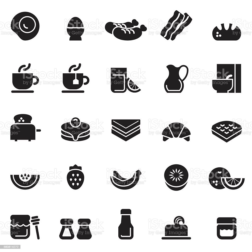 Breakfast Icons [Black Edition] vector art illustration