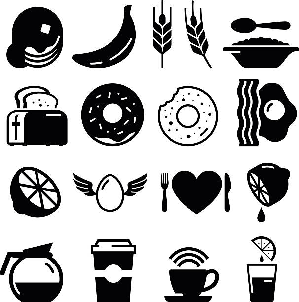 Breakfast Icons - Black Series vector art illustration