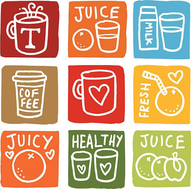 illustrazioni stock, clip art, cartoni animati e icone di tendenza di colazione icone set di icona di blocco - fruit juice bottle isolated